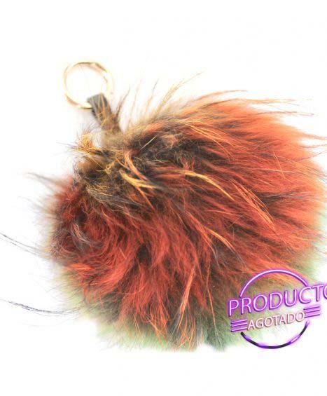 Pompon de pelo natural en multicolor
