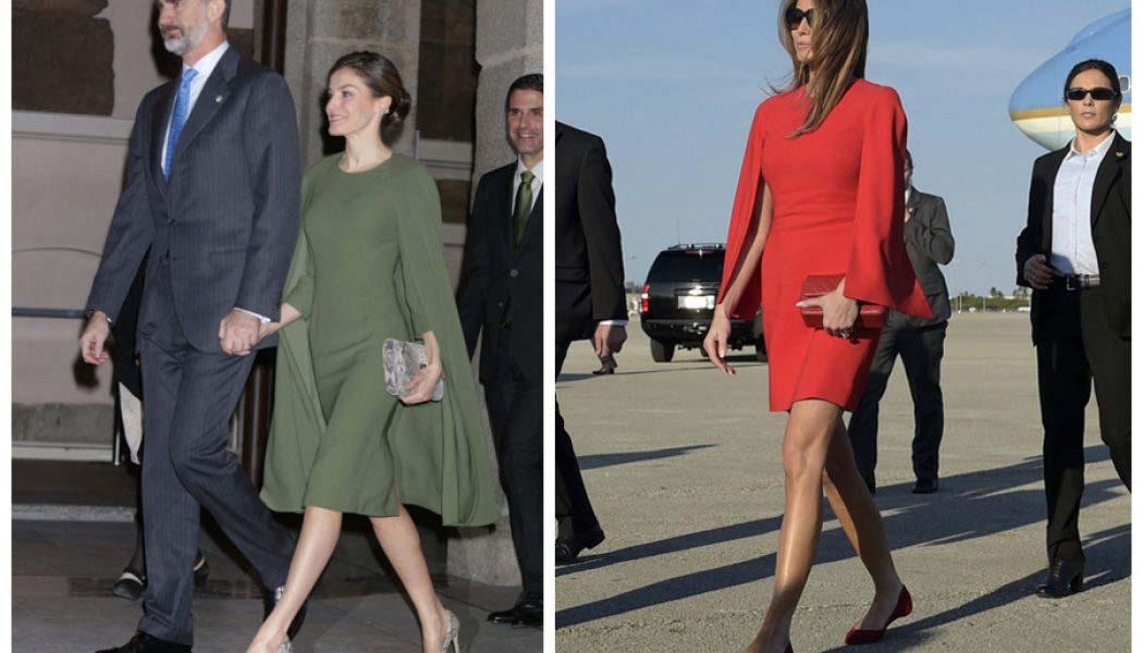 Letizia vs Melania, ¿quién luce mejor el vestido con capa?