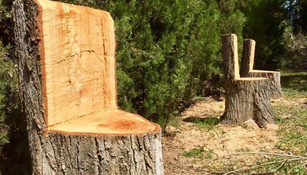 decoracion con troncos