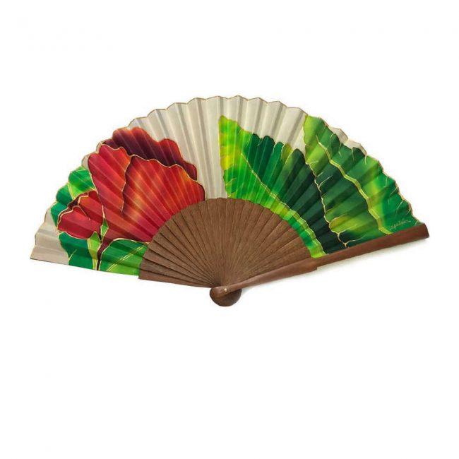 Abanico de seda natural personalizado con diseño de amapola pintado a mano
