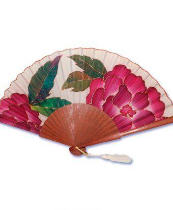 abanico en seda natural pintado a mano