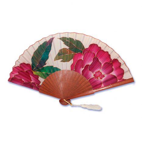 Abanico en seda natural pintado a mano con motivos florales