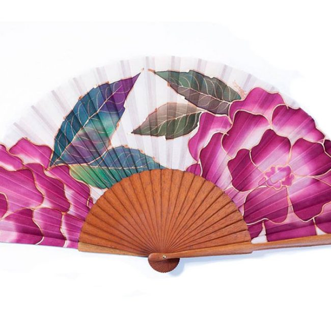 Abanico artístico pintado a mano sobre seda natural