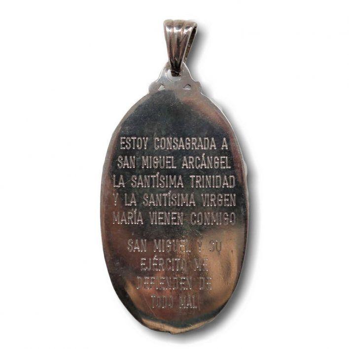 Medalla de San Miguel fabricada en plata de Ley parte atras